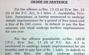 The court order declaring Jayalalithaa guilty in corruption case.