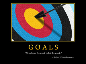 Motivational wallpaper on Goals : Aim above the mark to hit the mark ...