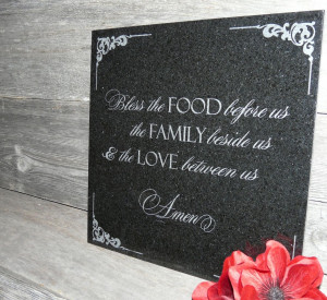 ... Engraved Absolute Black Granite Display Tile With Food, Family, Love