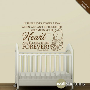 Nursery Wall Decal Quote Winnie the Pooh Heart by WallStickums, $28.00