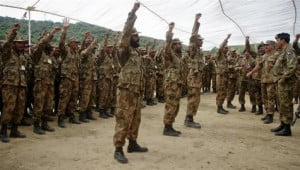 Pakistani soldiers shout