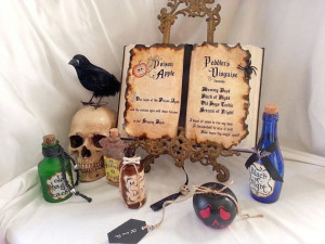 ... White poison apple Peddlers disguise altered spell Book prop Halloween