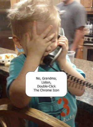 Funny Kid Talking On The Phone Helping Grandma With The Computer