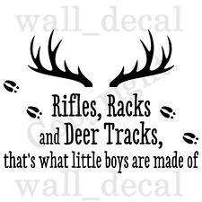 ... Deer Tracks Little Boys Wall Decal Vinyl Sticker Quote Hunting Gun