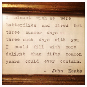 John Keats Love Quote Framed Made On Typewriter