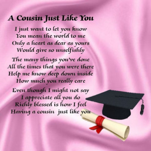Personalised Coaster - Cousin Poem - Graduation Pink + FREE GIFT BOX
