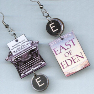 Book typewriter earrings East of Eden