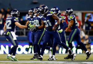 Strong safety Kam Chancellor #31 of the Seattle Seahawks celebrates ...