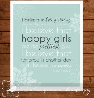 ... quote, Audrey Hepburn, wall quote, girls room, girls quote