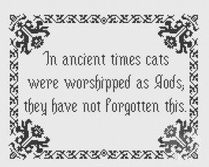 Embroidery: Terry Pratchett Cats quote