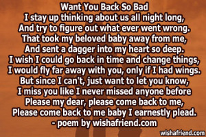 if you want to give such a i want you back poems for a boy