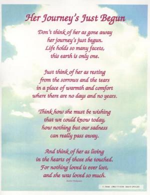 Her Journeys Just Begun Poem