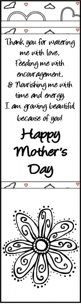 Black and White Mother's Day Bookmark. Perfect for coloring with ...