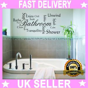 Bathroom Quote Modern Wall Art Sticker Decal Vinyl Montage Shabby Chic