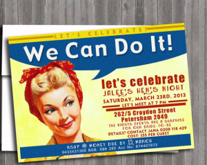 Retro Rosie the Riveter Vintage Pin Up Girl Invitation- Bachelorette ...