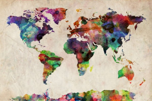 Urban Watercolour World Map
