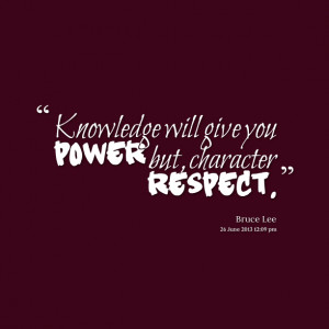 Knowledge And Character...
