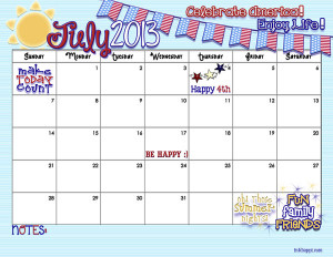Month Of July 2013 Calendar July 2013 calendar from