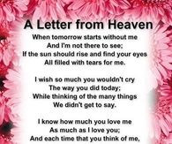 Happy Birthday Grandma In Heaven A letter from heaven