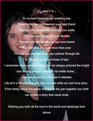 To my best friend on her wedding day...*