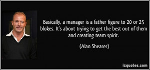 ... to get the best out of them and creating team spirit. - Alan Shearer