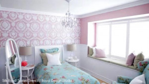 ... Wall Stencil from Royal Design Studio in little girl's pink bedroom