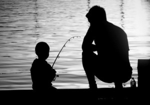 family fishing father and son