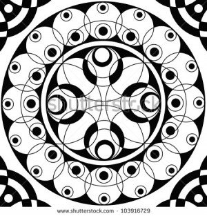 Geometric mandala sacred circle Black and White Coloring Outline ...