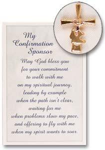Confirmation Sponsor Lapel Pin and Prayer Card