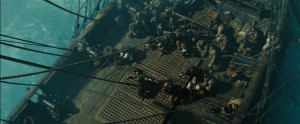 Hector Barbossa and the crew of the Black Pearl releasing Calypso .