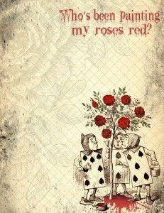Alice in Wonderland Painted Roses – Printable Digital Paper Alice ...