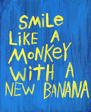 Word Art Painting Monkey Banana Blue Original Canvas Quote - Nayarts