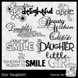 wordartworld.blogspot.comNEW Our Daughter Word Art