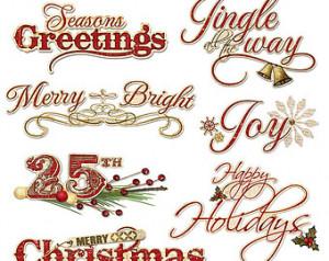 Christmas Word Art Clipart - Holida y Christmas Sayings Digital ...