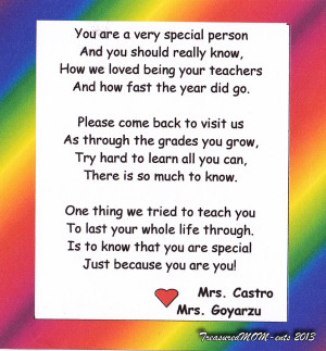 20130625 Teachers Note Preschool Graduation Poems