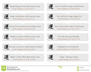 Chinese fortune cookie slips of paper with sayings or quotes for luck ...