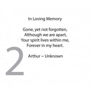 In Loving Memory Memorial Verse