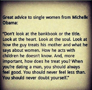 Michelle Obama: advice to single women