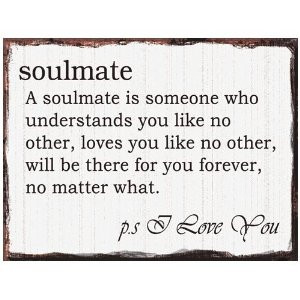 SOULMATE Romantic Vintage Quote Metal Wall Plaque Sign