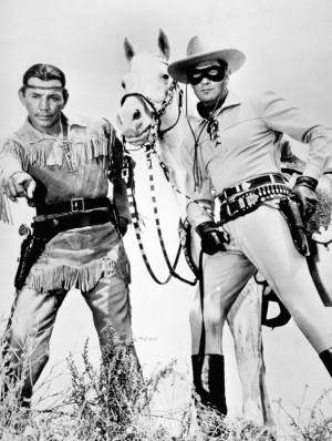 Still of Clayton Moore and Jay Silverheels in The Lone Ranger