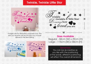 Details about TWINKLE TWINKLE LITTLE STAR Quote Nursery Room Rhyme ...