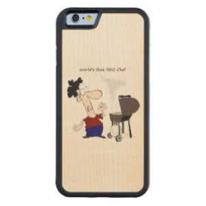 World's Best BBQ Chef Funny BBQ Quote Carved® Maple iPhone 6 Bumper
