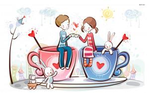 Couple Drinking Tea wallpaper