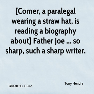 Comer, a paralegal wearing a straw hat, is reading a biography about ...