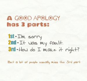 Good Apology Has 3 Parts, 1st I'm Sorry, 2nd It Was My Fault, 3rd ...