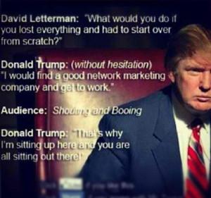 Donald Trump on David Letterman talking about network marketing...