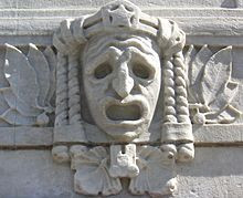 Tragic mask on the façade of the Royal Dramatic Theatre in Stockholm