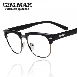 Gimmax vintage black half frame glasses male Women eyeglasses frame