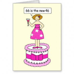 66th birthday age humour for her. greeting card