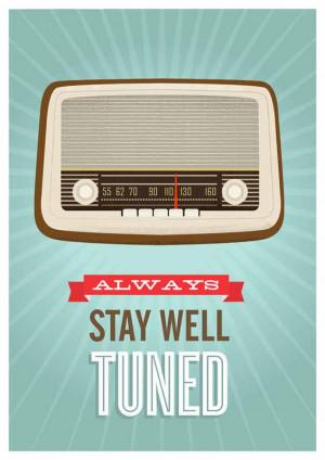 Mid Century Art, Retro vintage radio poster, typography quote art ...